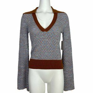 Free People Round About V-Neck Sweater S Retro
